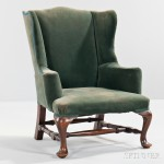 Child's Queen Anne-style Upholstered Mahogany Wing Chair (Lot 229, Estimate $400-600)