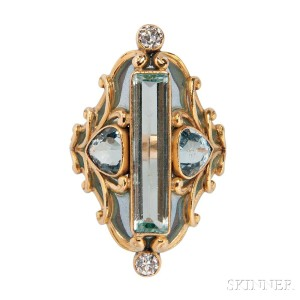 Art Nouveau 18kt Gold, Aquamarine, and Plique-a-Jour Enamel Ring, Marcus & Co. (Lot 505, Estimate: $8,000-12,000)