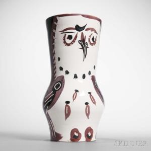 Pablo Picasso (Spanish, 1881-1973) Maroon/Black Wood-owl, 1952 (Lot 103, Estimate $8,000-12,000)