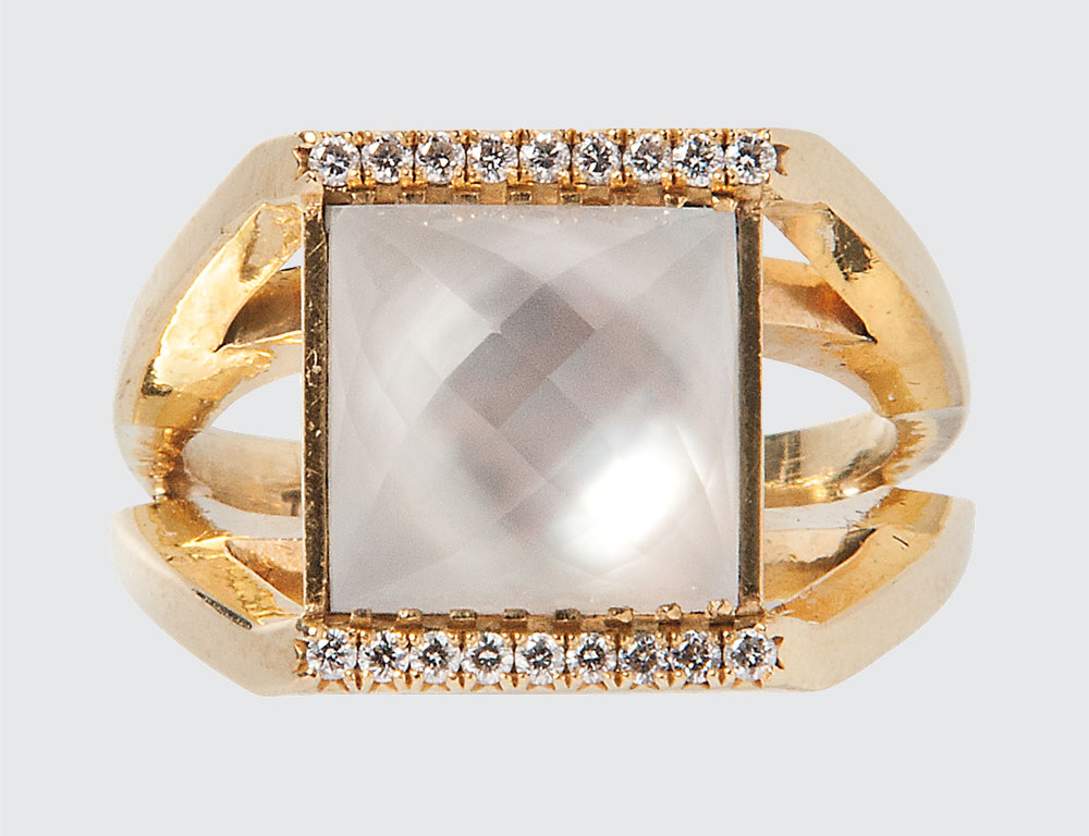 18kt Gold, Quartz, and Diamond Ring, Temple St. Clair (Lot 1024, Estimate $800-1,200)
