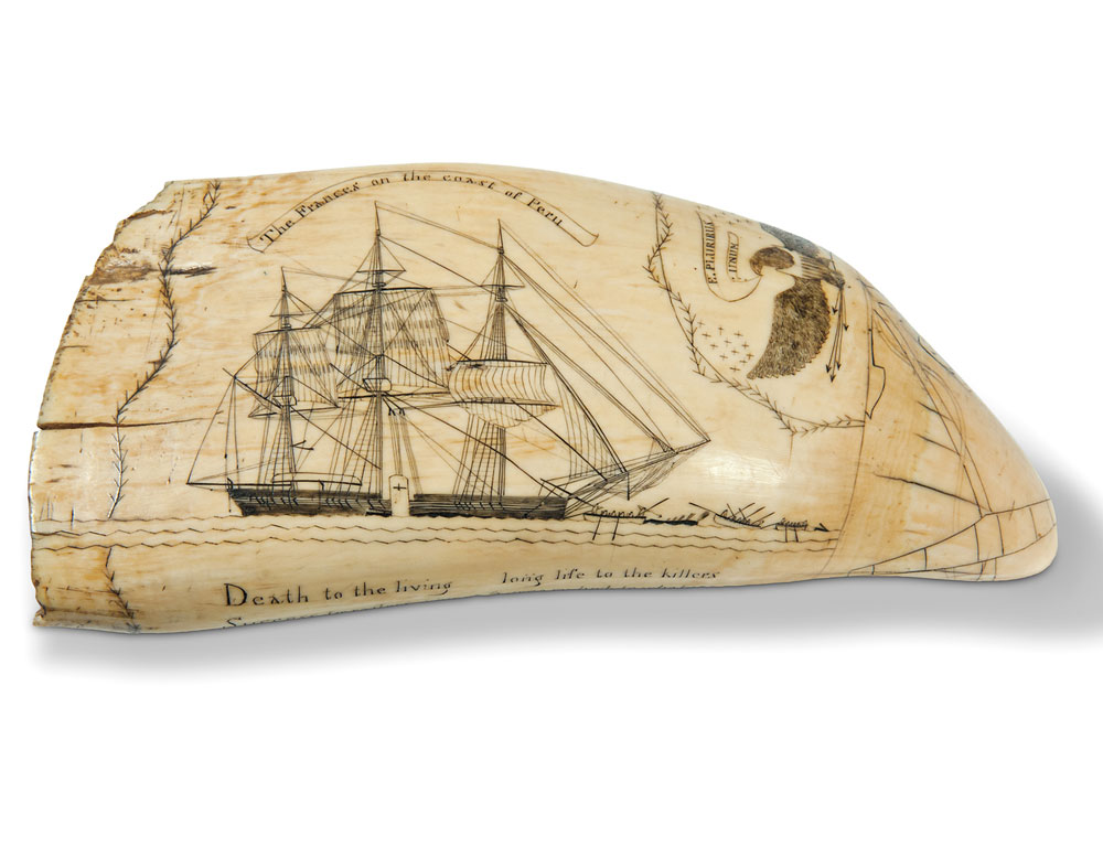 Scrimshaw Whale's Tooth Showing the Frances of New Bedford (Lot 116, Estimate $100,000-150,000)