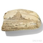 Scrimshaw Whale's Tooth Depicting a Tropical Whaling Scene, possibly Horatio E.C. Nelson, mid-19th century (Lot 115, Estimate: $8,000-12,000)