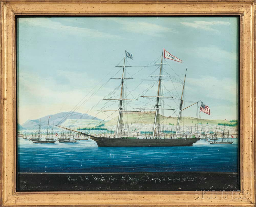 Raffaele Corsini (Italy, active 1830-1880) Portrait of the Bark J.H. Duvall, Capt A. Nickerson, Laying in Smyrna, December 27th 1855 (Lot 133, Estimate: $1,500-2,500)