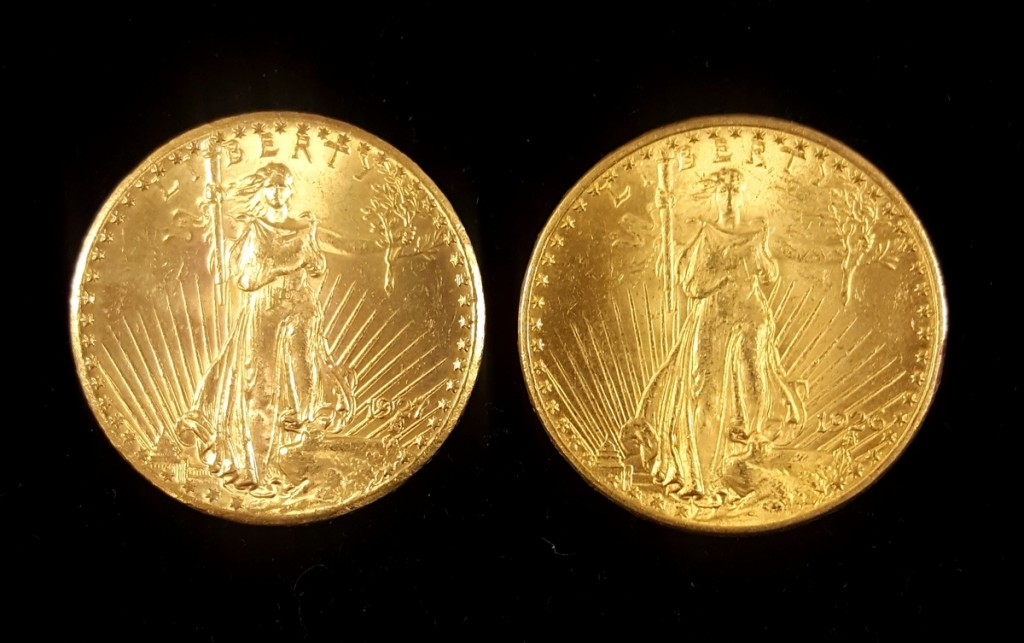 Both of these coins are identical in size, weight, and gold content. The coin on the left lacks a depthness and attention to detail seen in the coin on the right.