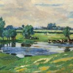 Charles Reiffel (American, 1862-1942) Pasture with Cattle Wading (Lot 1000, Estimate: $5,000-8,000)