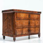 Neoclassical-style Walnut Veneer Three-drawer Trinket Chest, Europe, 19th century   (Estimate: $350-450)