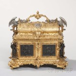 Prosper Roussel Patinated and Gilt-bronze Jewel Casket and Cover, France, second quarter 19th century (Lot 176, Estimate: $6,000-8,000)