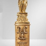 Monumental Bronze Figural Mantel Clock on Giltwood Base, 19th/20th century (Lot 577, Estimate: $20,000-30,000)