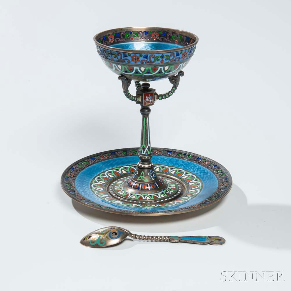 Russian .916 Silver and Enamel Sherbet with Underplate and Spoon, Moscow, 1899-1907 (Lot 63, Estimate: $3,000-5,000)