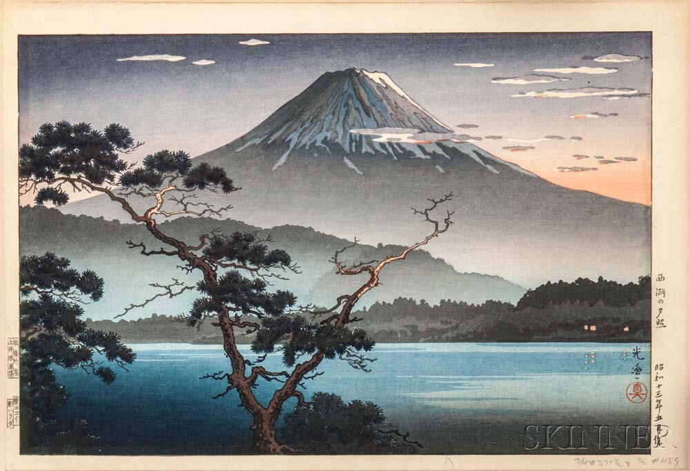 Tsuchiya Koitsu (1870-1949), Lake Sai Sunset, Japan, 1938 (Estimate: $300-400)