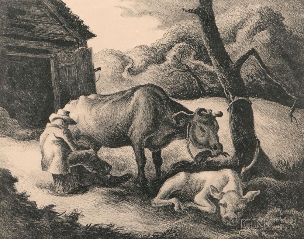 Thomas Hart Benton (American, 1889-1975) White Calf, 1945 (Lot 40, Estimate: $1,500 - 2,000)