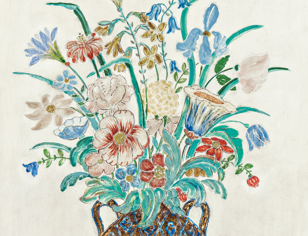 [Detail] Charles E. Prendergast (American, 1863-1948) Untitled (Vase with Flowers and Birds) (Lot 382, Estimate: $30,000-50,000)