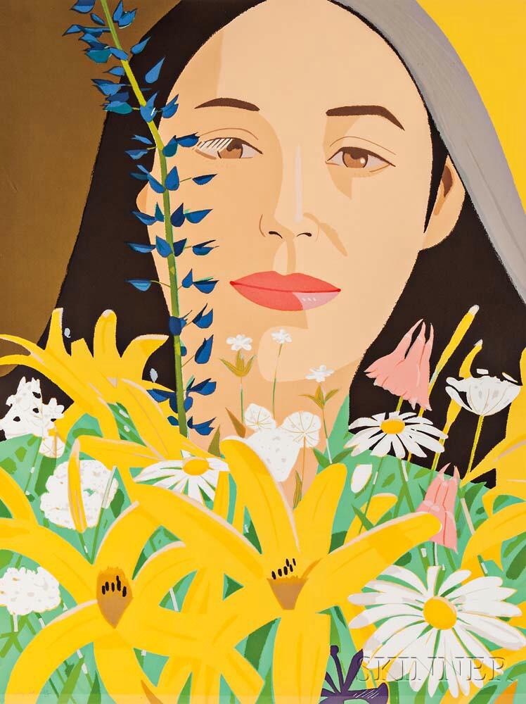 Alex Katz (American, b. 1927) Ada with Flowers, 1980 (Lot 89, Estimate: $6,000-8,000)