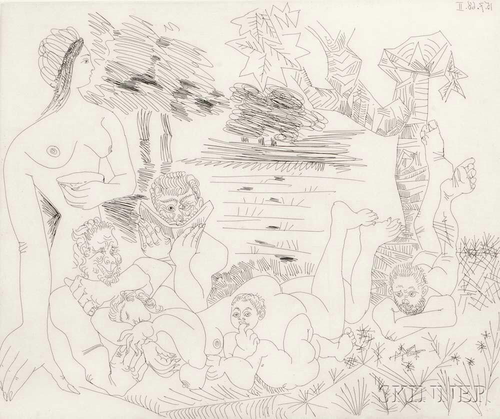 Pablo Picasso (Spanish, 1881-1973) Scène Pastorale Poussinesque sur le Thème de Pan et   Syrinx, from Series 347, 1968 (Lot 110, Estimate: $6,000-8,000)