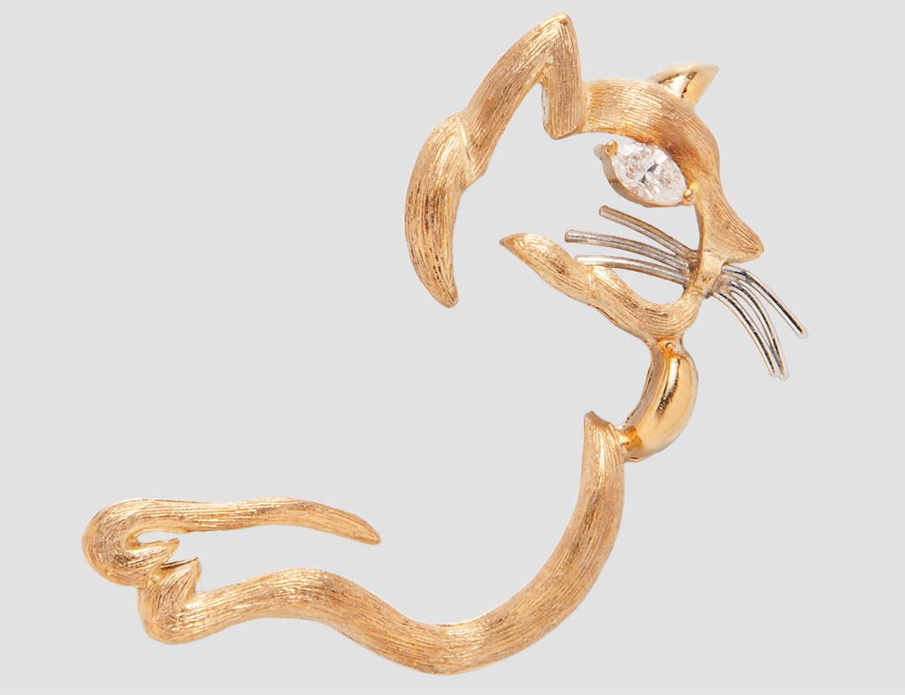 18kt Gold and Diamond Cat Brooch (Estimate $400-600)