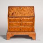Miniature Queen Anne-style Tiger Maple Slant-lid Desk (Lot 241, Estimate $300-500)