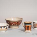 Four Mocha-decorated Ceramic Tableware Items, 19th century (Lot 18, Estimate $300-500)