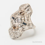 Art Deco 18kt White Gold and Diamond Three-stone Ring (Lot 1004, Estimate $500-700)