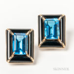 Large 14kt Gold, Onyx, and Blue Gemstone Earrings (Lot 1018, Estimate $150-250)