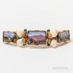Victorian 14kt Gold, Enameled, and Teeth Bracelet Segment (Lot 1255, Estimate $400-600)