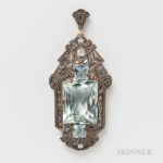 Art Deco 14kt Gold, Aquamarine, and Diamond Pendant (Lot 1050, Estimate $200-300)