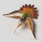 18kt Gold and Enamel Hummingbird Brooch, Spanish, 20th century (Lot 1202, Estimate $300-500)