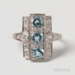 Art Deco-style Platinum, Aquamarine, and Diamond Ring (Lot 1346, Estimate $400-600)