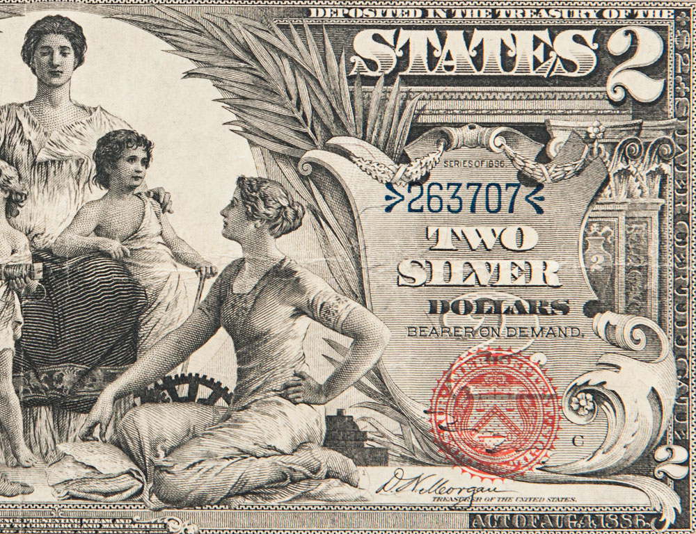 [DETAIL] 1896 $2 Silver Certificate 'Educational' Note