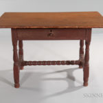 Early Red-painted Tavern Table, Massachusetts, c. 1700 (Lot 1473, Estimate $800-1,200)