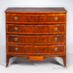 Mahogany and Mahogany Veneer Inlaid Bowfront Chest of Drawers, New Hampshire, early 19th century (Lot 1006, Estimate $1,000-1,500)