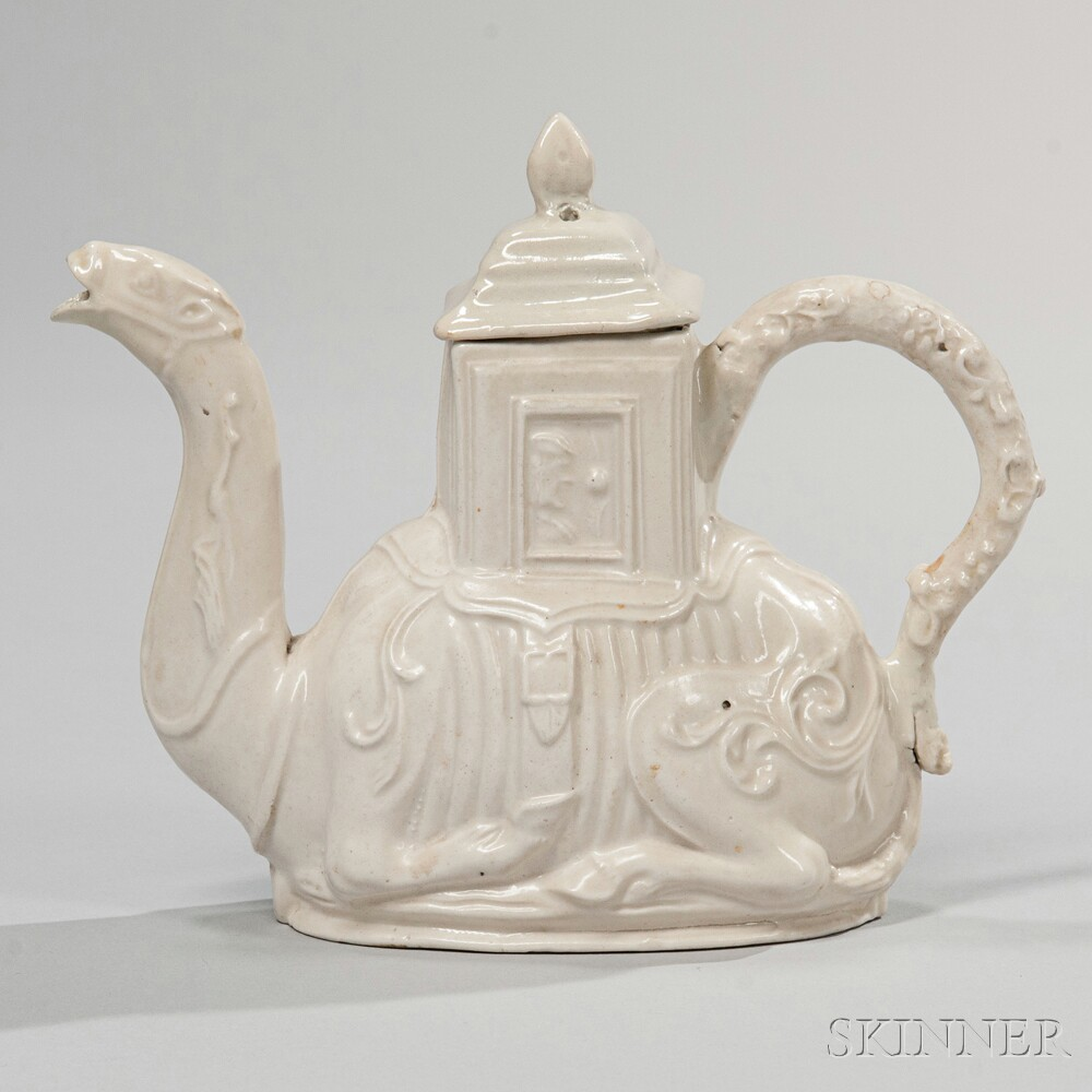 Staffordshire Salt-glazed Stoneware Camel Teapot and Cover, England, c. 1740 (Lot 15, Estimate $1,000-1,500)
