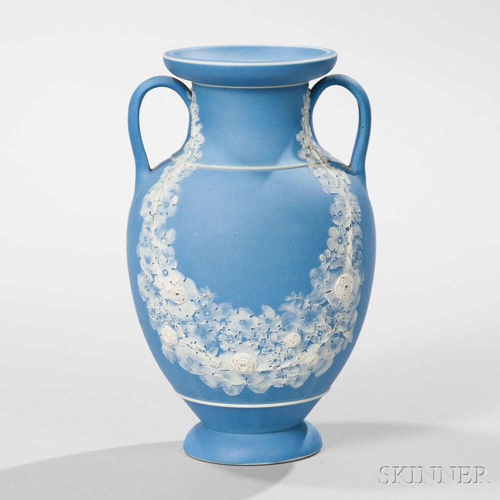 Wedgwood Light Blue Jasper Dip Freestyle Vase, England, 19th century (Lot 172, Estimate $800-1,200)