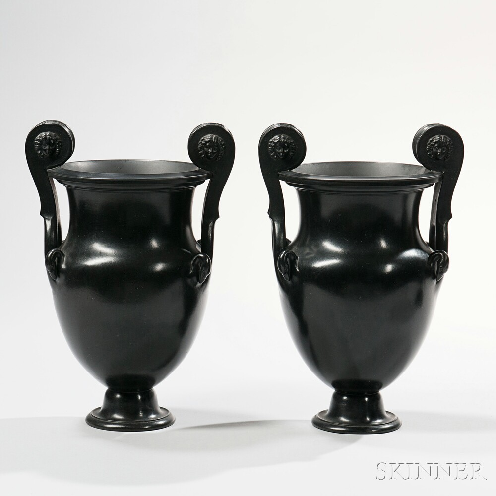 Pair of Wedgwood Black Basalt Volute Krater Urns, England, early 19th century (Lot 90, Estimate $1,200-1,800)