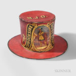 Red-painted and Decorated 'Cohocksink Hose Company' Parade Hat, Philadelphia, Pennsylvania, c. 1856 (Lot 519, Estimate $8,000-12,000)
