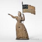Molded and Painted Sheet Copper Goddess of Liberty Weathervane, Cushing & White, Waltham, Massachusetts, c. 1865-75 (Lot 494, Estimate $30,000-50,000)