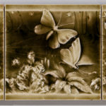 American Encaustic Tile Co. Three-part Tile Scene with Cherub and Butterflies  Zanesville, Ohio (Lot 1607, Estimate $200-250)