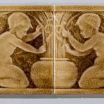 J. & J.G. Low Art Tile Works Four-part Tile of Putti with Grapes  Chelsea, Massachusetts (Lot 1671, Estimate $300-400)
