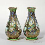 Pair of Wedgwood Fairyland Lustre Pillar Vases, England, c. 1925 (Lot 384, Estimate $4,000-6,000)