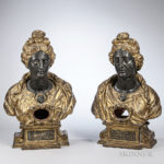 Two Continental Carved and Painted Giltwood Reliquary Busts (Lot 423, Estimate $1,500-2,500)