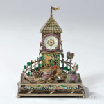 Viennese Silver-gilt and Enamel Table Clock, Austria, late 19th century (Lot 59, Estimate $2,000-4,000)
