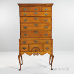 Carved Maple and Tiger Maple High Chest of Drawers, southern New Hampshire, late 18th century (Lot 101, Estimate $4,000-6,000)
