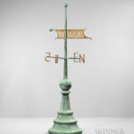 Large Freestanding Molded Sheet Copper Bannerette Weathervane, Maine, c. 1890-1900 (Lot 120, Estimate $3,000-5,000)