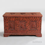 Carved and Paint-decorated Diamond-point Blanket Chest, New York, early 19th century (Lot 152, Estimate $3,000-5,000)