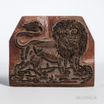 English Carved Wood and Metal Abraham Marlow Lion Textile Stamp (Lot 1442, Estimate $75-100)