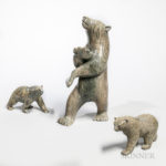 Three Contemporary Inuit Soapstone Bear Carvings (Lot 2095, Estimate $200-250)