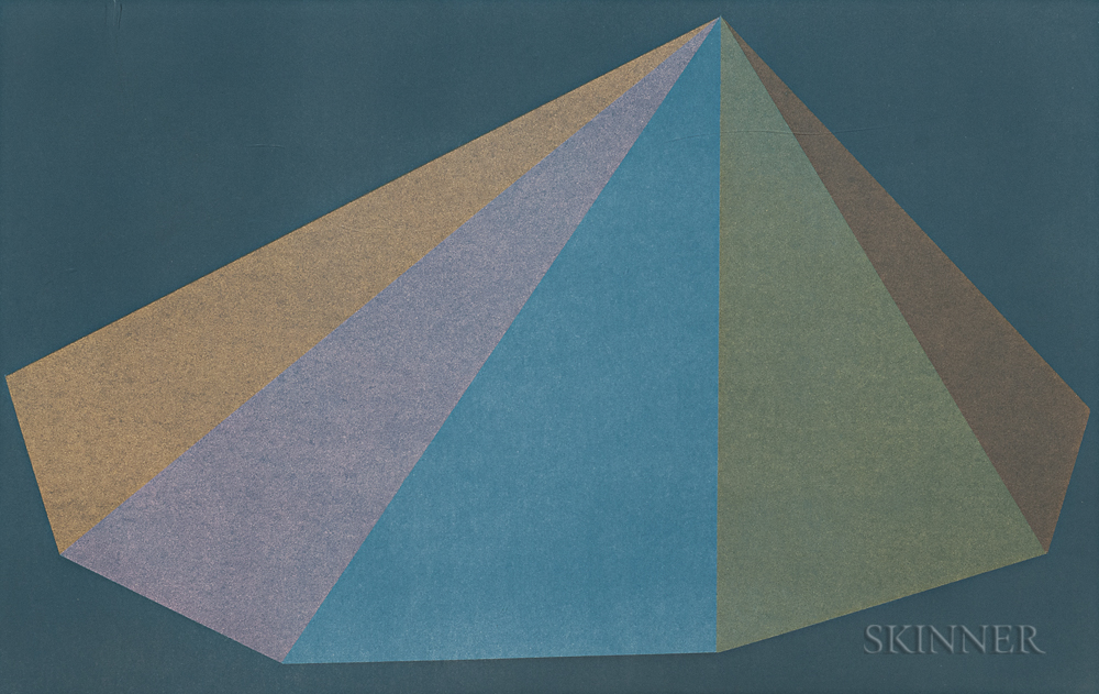 Sol LeWitt (American, 1928-2007)  Plate One, from the suite Pyramids, 1987, edition of 19 plus proofs (Lot 66, Estimate $1,000-1,500)