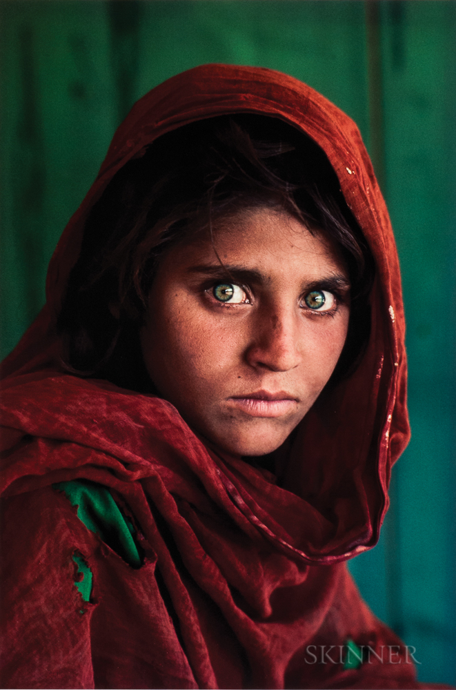 Steve McCurry (American, b. 1950)  Afghan Girl (Sharbat Gula), Refugee Camp, Pakistan, 1984, printed 2011 (Lot 126, Estimate $10,000-12,000)