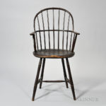 Tall Dark Red-painted Sack-back Windsor Armchair, New England, early 19th century (Lot 344, Estimate $4,000-6,000)