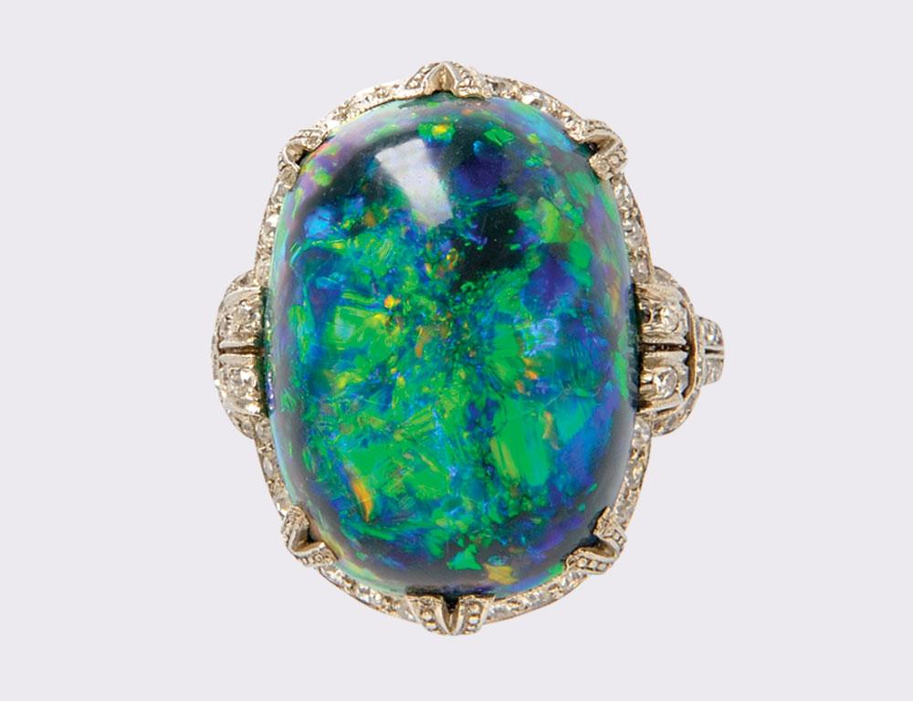 Fine Art Deco Platinum, Black Opal, and Diamond Ring (Lot 326, Estimate $5,000-7,000)