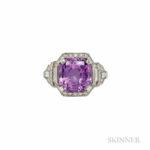 Art Deco Platinum, Pink Sapphire, and Diamond Ring, Raymond Yard (Lot 323, Estimate $6,000-8,000)